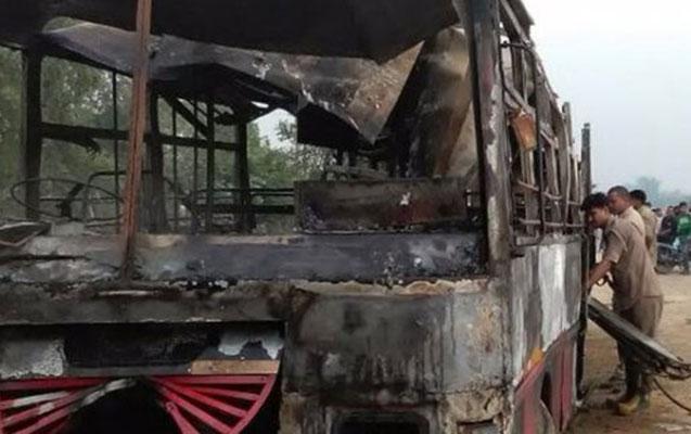 Qəza oldu, avtobusda 22 nəfər yandı