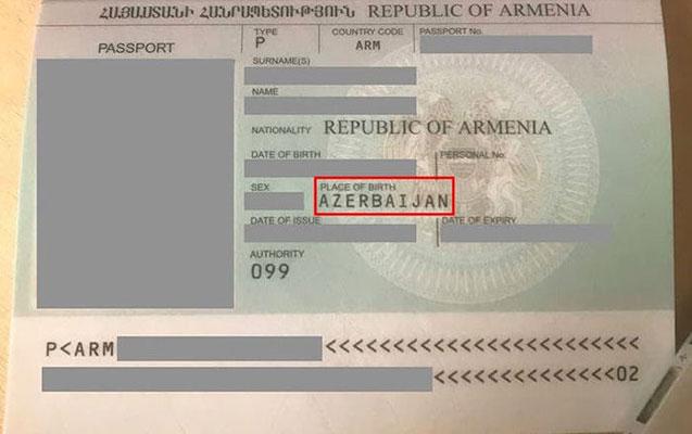 Qarabağ ermənisinin pasportunda doğum yeri Azərbaycan yazılıb